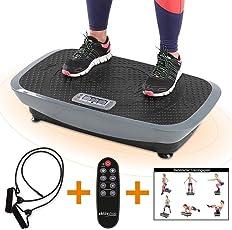 aktivshop Vibrationsplatte Vibrationsgerät Vibrationstrainer inkl. Expanderbändern + Fernbedienung + Trainingsplan
