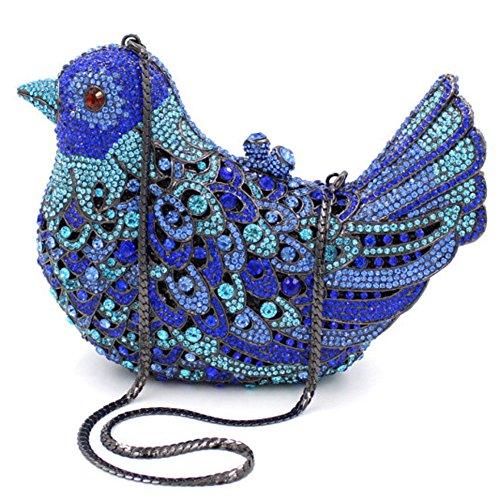 Santimon Donna Pochette Borsa Uccello Custodia Rigida Lusso Borsellini Diamante Cristallo Borse Da Seta Con Tracolla Amovibile e Pacco Regalo 15 Colori blu