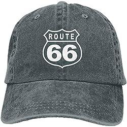 gatetop Route 66 Vacation Highway Road Sign Washed Retro Ajim Sombreros de Camionero Sombreros para Mujeres y Hombres