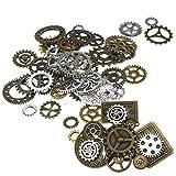 100x Perlen Uhr Steampunk-Sets Anhänger mit Zahnräder für Basteln Schmuck