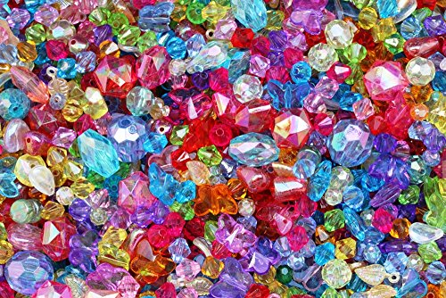JEWELTAILOR NEW! 150 Hand Mixed Children's Sparkly Beads 4-16mm ~ Various Styles With A High Sheen Finish- Ideal For Craft Activities & Parties + FREE Guide -