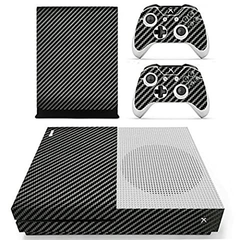 Morbuy Xbox One S Skin Console Vinyle Autocollant Decal Sticker and 2 Manette Skins (Black Carbon Fiber)