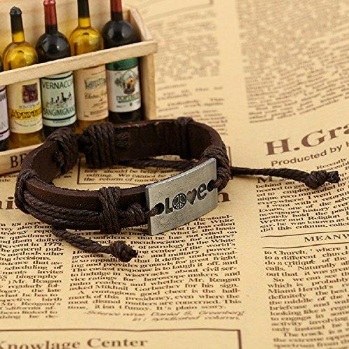 XJoel Frauen der Männer Art und Weise Black Brown geflochtenes Leder-Verpackungs-Armband am Handgelenk Schmuck Brown (Jungen Jugend Golf-clubs)