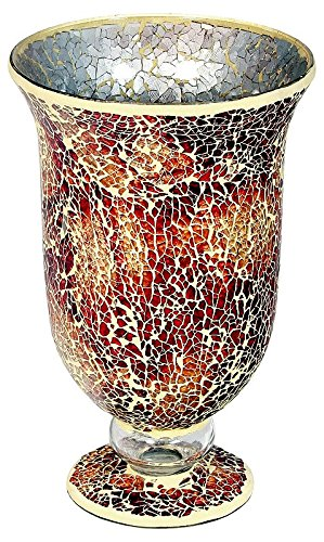 Large Mosaic Glass Hurricane in Orange (Mosaic Glass)