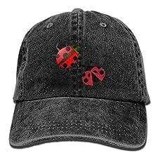 Unisex Adult Ladybug Insect Washed Denim Cotton Sport Outdoor Baseball Hat Adjustable One Size