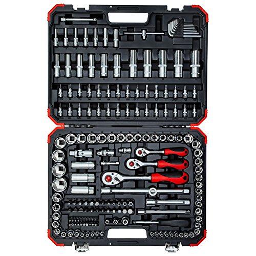 """GEDORE red Steckschlüsselsatz 172 teilig 1/4\"""", 5/16\"""", 3/8\"""" & 1/2\"""" mit Umschaltknarre, Steckschlüssel und Bitsatz mit 3 Ratschen inkl. Zubehör"""
