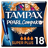 Tampax Compak Pearl - Tampons avec Applicateur en Plastique x 18 - Super Plus - Lot de 3