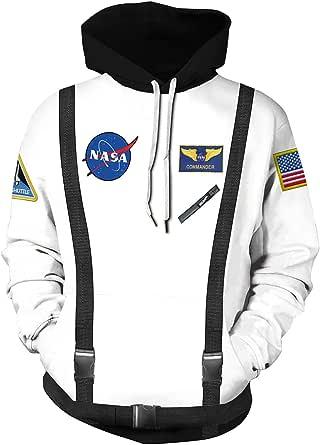 Haosheng Unisex NASA 3D Felpa Uomo con Cappuccio Rocket Galaxy Logo Acogliente Streetwear Sweatshirt(L)