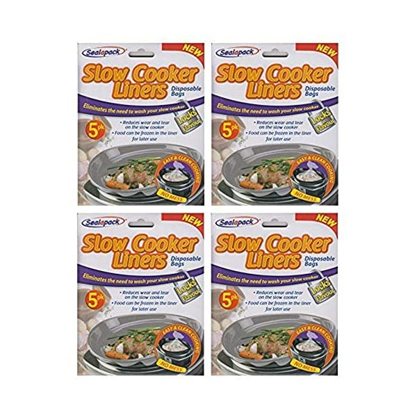 20 Sealapack Slow Cooker Liners Cooking Bags 4 x 5 Pack for Round & Oval Cookers 61EgCGv1rfL