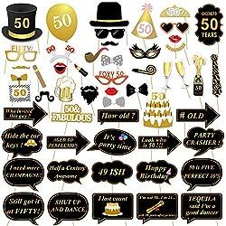 Konsait compleanno Photo Booth props foto booth, 50 anni nero e faux oro compleanno decorazioni accessori con bastoni per la festa di compleanno (53 pezzi)
