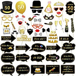 Konsait 50th Birthday Photo Booth Props, 50th Birthday Decorations Party Photo Props Black Gold Glasses Mask On Stick for Man Woman 50th Birthday Party Decorations Supplies Games Favor (53 Counts)