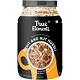 True Elements Muesli Fruit and Nuts 1 kg - 100% Whole Grain, Breakfast Cereal, No Added Sugar Cereal, Muesli 1kg