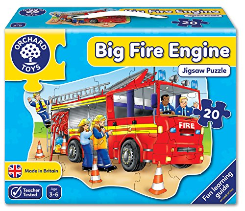 Imagen 2 de Orchard_Toys 258 Big fire engine - Puzle con dibujo de camión de bomberos (20 piezas, importado de Reino Unido)