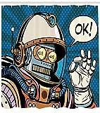 Abakuhaus Duschvorhang, Futuristische Comics Super Heros Roboter in Einem Raumanzug mit Ok Zitat Kunstwerk Design, Blickdicht aus Stoff inkl. 12 Ringe für Das Badezimmer Waschbar, 175 X 200 cm