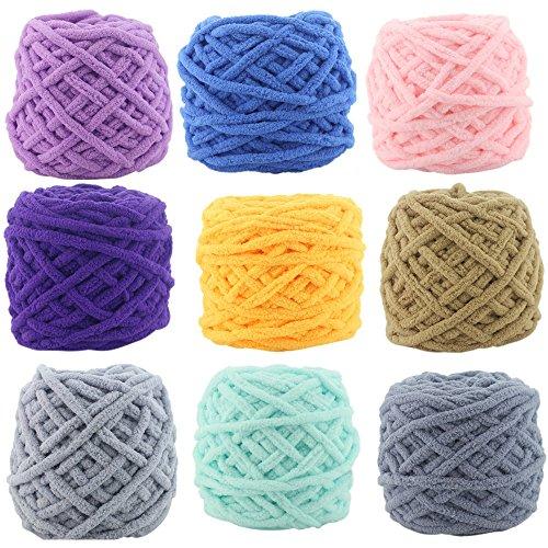 sunnymi Super Soft Korallen Wollgarn Häkeln Stricken/Pure Farbe/Geschenk/DIY Wolle Garn Strick Wolle/Pullover Hüte Schals Decke/100g (Zufällig, Chenillegarn)
