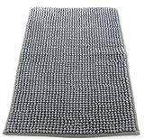 tappeto da bagno camera ingresso e cucina, a pelo corto, materiale in micro fibra, scendi doccia morbida, assorbente, lavabile in lavatrice, retro in tessuto grigio 40x60cm