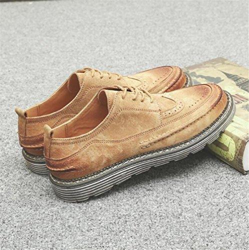 Scarpe da uomo Retro Scrub Leather scarpone formatori Suola morbida Laces Taglia 38 a 43 yellow