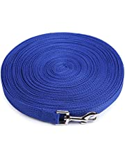 THE DDS STORE Cotton Nylon Dog Training Lead Long Rope Webbing Recall Obedience Line Leash for Pet (Blue, 3 m/10 ft)