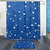 JSTEL Muster mit Sternen und Sternbilder 3-teilig Badezimmer Set, waschbar, für den täglichen Gebrauch, 60x 40cm, wasserdicht, mit 12Haken, Anti-Rutsch-bathro