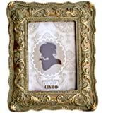 CISOO Vintage Picture Frame 2.5x3.5 Antique Photo Frame Table Top Display and Wall Hanging Home Decor (Bronze with Green Rust