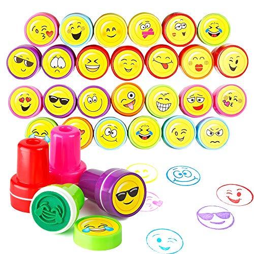 THE TWIDDLERS 36 timbri Emoji Giocattoli, Francobolli Smiley Auto Inchiostrazione Plastica per Bambini - ricompense di Classe, bomboniera regalino Festa, Compleanno, Partito Nozze