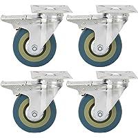 in gomma 95mm Ruote per mobili con 2 freno Capacit/à di carico massima 120 KG Adatto a tutti i tipi di carrelli leggeri carrelli industriali 4 pezzi Ruote girevoli Ruote Orientabili