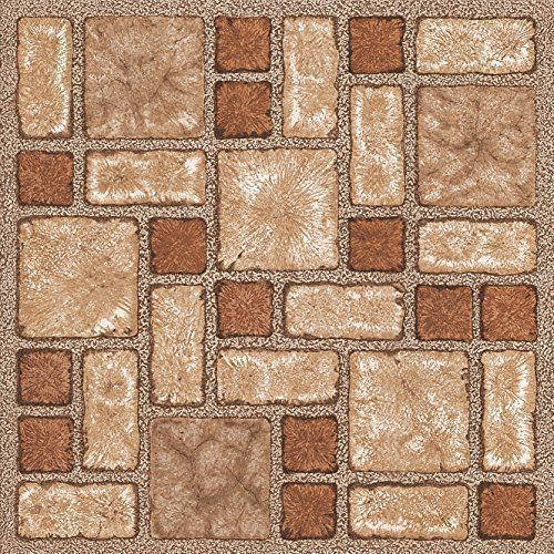 28 x Vinyl Floor Tiles - Self Adhesive - Kitchen / Bathroom Sticky - Brand New - Brown Mosaic 188