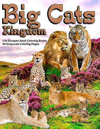 Big Cats Kingdom Life Escapes Adult Coloring Book: 48 grayscale coloring pages of big wild cats like lions, tigers, cougars, leopards, cheetahs and ... cats like the caracal, ocelot cat and more -