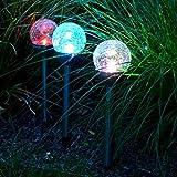(563) LED Solarleuchte Edelstahl Kugelleuchte Gartenleuchte 55cm Solar Leuchte mit umschaltung für Farbwechsel oder Weiss