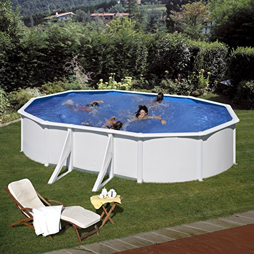 Gre KIT610ECO- Piscina Fidji desmontable ovalada de acero color blanco