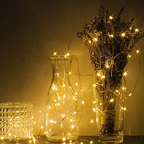 Copper Wire String Lights Solar Powered Luxury 100 LED Warm