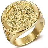 Bague Chevali/ère Fleur de Lys Dor/é Argent/é Croix Malte Anneau Templier Acier Inoxydable 316L Lis BOBIJOO Jewelry