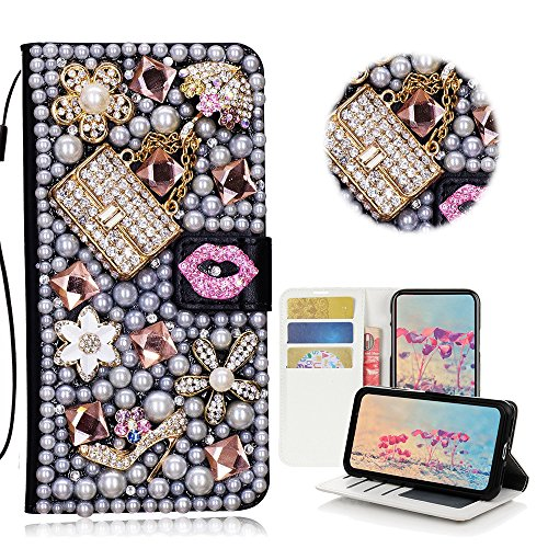 STENES iPod Touch (6th Generation) Hülle - STILVOLL - 3D Handarbeit Bling Kristall Sexy Girls Bag High Heel Lippen Design Brieftasche Kredit Karte Schlüssel Falten Medien Stand Leder Tasche for - Girls Generation-karten