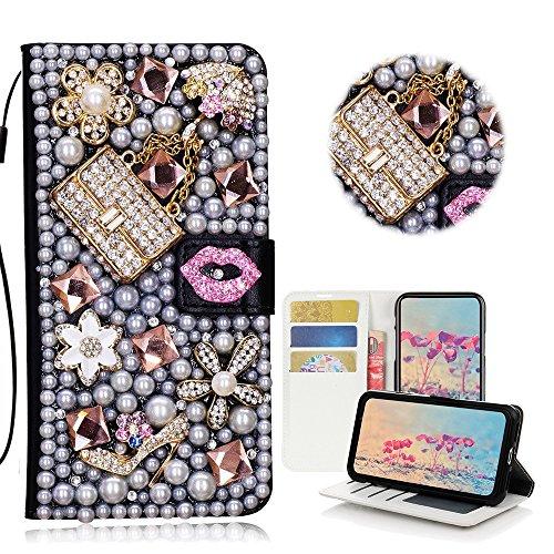 STENES iPod Touch (6th Generation) Hülle - STILVOLL - 3D Handarbeit Bling Kristall Sexy Girls Bag High Heel Lippen Design Brieftasche Kredit Karte Schlüssel Falten Medien Stand Leder Tasche for - Generation-karten Girls