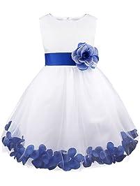 dPois Vestido de Pétalos Flor para Niñas Princesa Vestido sin Mangas Formal Fiesta Vestido Largo Elegante