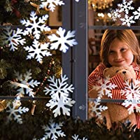 Christmas New Year LED Snowflake Light Projector,Stage Outdoor Indoor Decoration, White Moving Snowflake for Landscape Garden Holiday Party