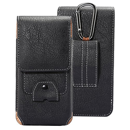 DAYNEW für 4.7-5.1 Zoll Universal-PU-Leder Hüfttasche Handytasche Tasche Smartphone Huawei Honor 9/nova 2/Y6/Y5/Y3/P10/Enjoy 6-Schwarz