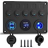 IP65 Waterdicht 12 V/24 V Toggle Switch Panel, Dual USB Charger Poort 4.2A + Aansteker Socket + Digitale Voltmeter Display, A