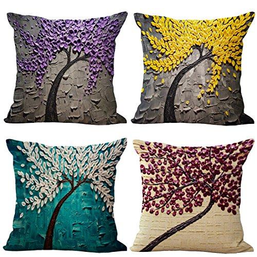 Teckpeak 4er Set von 45 x 45 cm Polyester Ramie Kissenbezug für Dekokissen Sofakissen Cocktailkissen Kopfkissen