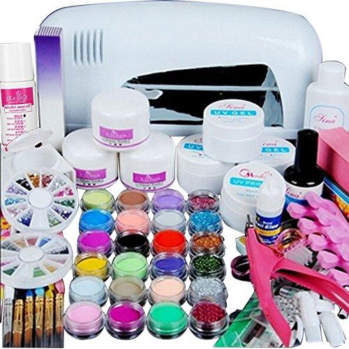 SKY Hot selling ! 24 colores de acrílico en polvo de uñas kit de herramientas de gel 9W UV lámpara de secado blanco Acrylic Powder Nail Art Kit Gel Tools