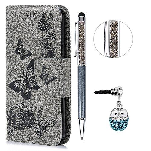 S5 Mini Hülle Leder Case,KASOS Galaxy Handyhülle Brieftasche Book Type PU Leder +TPU Innere Tasche Bunt Gemalt Magnetverschluss Ledertasche Cover, Gray + Touch Pen + Stöpsel Staubschutz