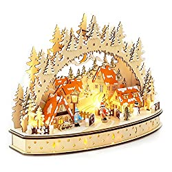 Wichtelstube-Collection LED candle arch Oval Christmas village candle arch Schwippbogen