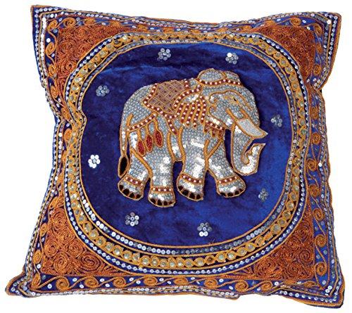 """Preisvergleich Produktbild Kissen """"Silberner Elefant"""" (Bezug) blau, Handarbeit aus Thailand"""