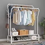 Lukzer Multipurpose Metal Garment Rack Heavy Duty Clothes Rail Double Pole Garment Stand with 2 Bottom Shelves & Side Hook Ha