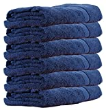 #5: Trident Piece Dyed Home Essentials Cotton 6 Pcs Hand Towel Set, 400 GSM - Blue