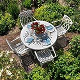 Weißes Gartenmöbelset Amy 120cm Runde Aluminium Gartengarnitur- 1 Weißer AMY Tisch + 4 Weiße Emma SAStühle