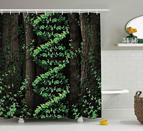 Bronze Ivy Leaf (Jolly2T Nature Shower Curtain, Mystic Forest Tropic Trees Leaves Ivy Wild Botanic Artwork Print Photo, Fabric Bathroom Decor Set with Hooks, 60 x 72 Inches, Dark Brown Hunter Green)