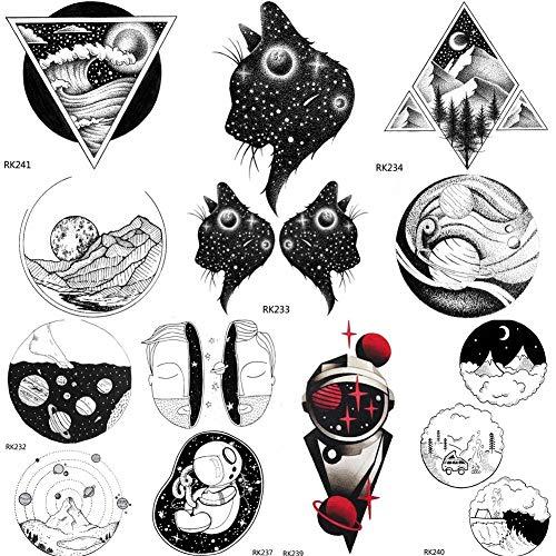 fkleber Galaxy Cat Planeten Universum Temporäre Tattoos Aufkleber Geometrische Dreieck Berg Benutzerdefinierte Kinder Tattoos Kunst Gefälschten Schwarzen Stern ()