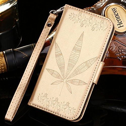 IPhone 5s Case Cover, double face gaufrage Fleurs Haute Qualité Flip Stand PU Leather Case avec Lanyard Wallet & Card Cash Slots pour IPhone 5S SE ( Color : Gold , Size : IPhone 5 ) Gold
