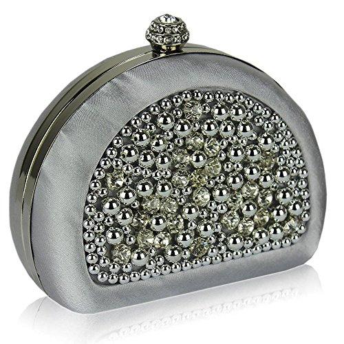 TrendStar Damen Kupplungs Taschen Damen Strass Perlen Brautkleid Abend Partei Beutel Silber